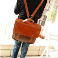 forever2you — Retro Waxed PU Leather Backpack for School