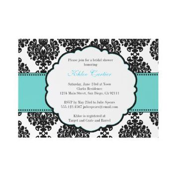 Tiffany Blue Bridal Shower Invitations Damask from Zazzle.com