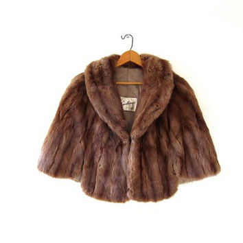 Mink fur stole. Vintage 50s mink stole. 1950s fur cape. Brown fur shoulder piece.