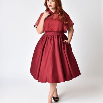 Shop 1940s Red Dress on Wanelo