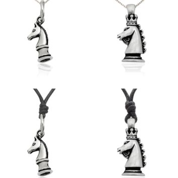Knight Horse Chess 92.5 Sterling Silver Pewter Charm Necklace Pendant Jewelry
