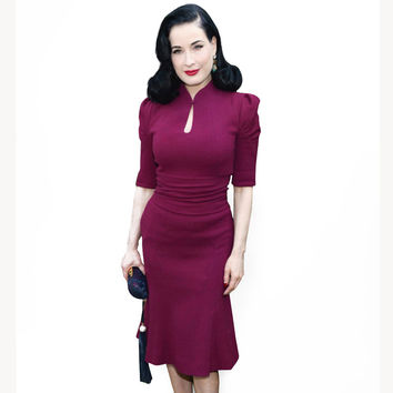 new style and Women Rockabilly Pinup Vintage Celebrity Short Sleeve Zipper Back Party Pencil evening Dress Alternative Measures - Brides & Bridesmaids - Wedding, Bridal, Prom, Formal Gown