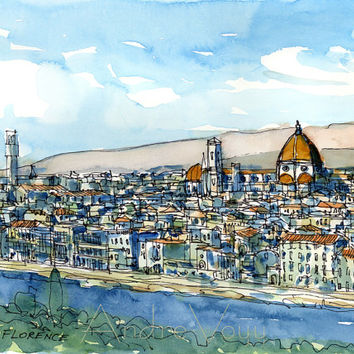 Florence Arno River Italy print from an original watercolor painting