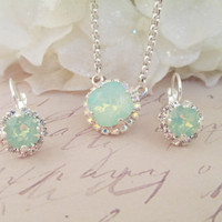 swarovski crystal necklace,designer inspired,12 mm cushion cut, crystal halo, mint green opal, pendant, crystal drop earrings