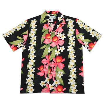 orchid play black hawaiian rayon shirt
