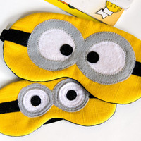 Minion sleep mask with cotton lining and batting. Black sleep mask. Minion travel mask. Kids sleeping mask. Party favor.