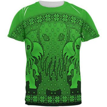 PEAPGQ9 Ugly Christmas Sweater Big Cthulhu Greater Gods All Over Mens T Shirt
