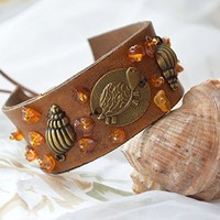 Bohemian leather cuff bracelet Turtle beach jewelry Boho Chic bracelets rustic cuff Recycled belt upcycled Girlfriend gift Teen girl gift Nautical Marine Sister gift sea turtoise ocean coastal