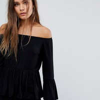 Boohoo Bardot Frill Top at asos.com