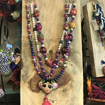 Mexican Frida Kahlo Heart and Tassel Long Necklace