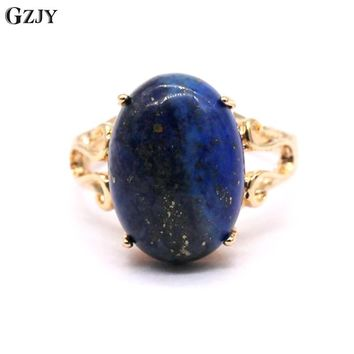 GZJY Lapis Lazuli Ring Natural Real Lapis Lazuli Champagne Gold Color Rings For Women G08-2