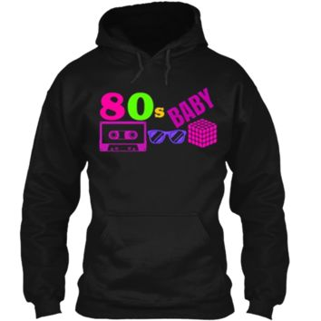 COOL POPULAR: 80s BABY Neon Shirt Party Outfit Gift Idea Pullover Hoodie 8 oz