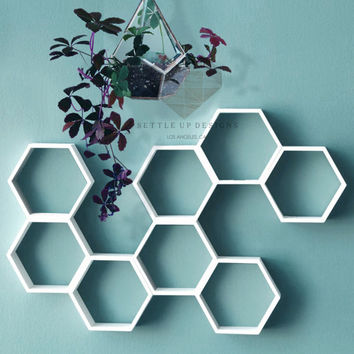 Set of 3: Hexagon Floating Shelves LARGE White - Geometric Shelves - Honeycomb Shelves