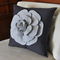 Grey Rose on Charcoal Grey Pillow by bedbuggs on Etsy
