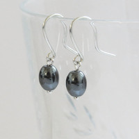 Silver Earrings with Blood stones- Everyday Jewelry - Simple Handmade Jewelry