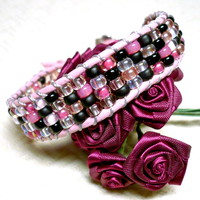 Elegant BOHO Pink and Black Miyuki Seed Bead and Leather Cuff Bracelet