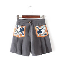 Korean Summer Women's Fashion With Pocket Print Ruffle Shorts [4918908484]