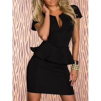 Black Blends Women Sexy V-neck Beautiful Flounces Slim Dress M/L/XL/XXL ALYDY-N118-29Black403-2