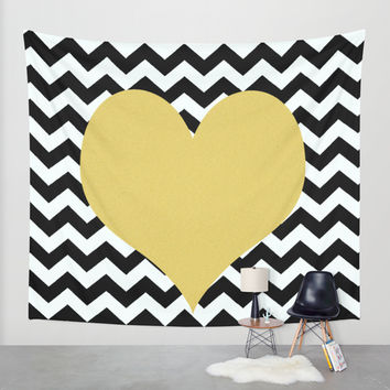 Gold Heart Wall Tapestry by Haroulita