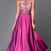 Beautiful Floor Length Prom Dress E1941 with Illusion Bodice