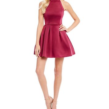 Midnight Doll Mock Neck Fit and Flare Dress | Dillards