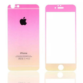 Rose Red Gradient Toughened Glass Screen Protector for iPhone 6s 6plus Gift