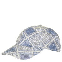 Folk Tile Print Cap - Navy Blue