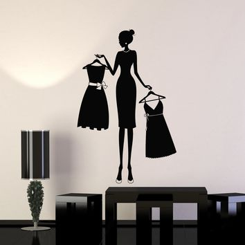 Vinyl Wall Decal Silhouette Fashion Style Woman Dresses Dress Shop Stickers Mural Unique Gift (ig5060)