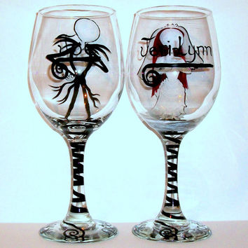 Sally and Jack Hand Painted Wine Glasses Nightmare  Before Christmas Wedding  Painted 20 oz. White Wine Glasses Halloween