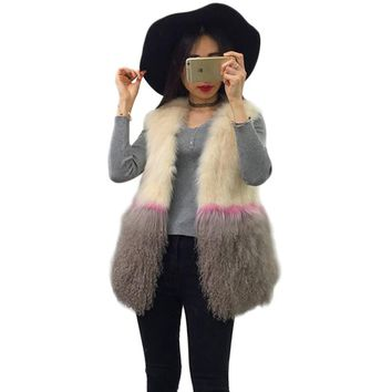 Luxury Genuine Fox Fur Vests Coat for Women Real Fur Vests Outerwear Winter 2017 Fashion Fox Fur Import Vests Mongolia Sheep Fur