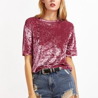 Fashion Solid Short Sleeve Velvet Tee - NOVASHE.com