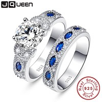 White And Blue CZ Wedding Set, Sterling Silver