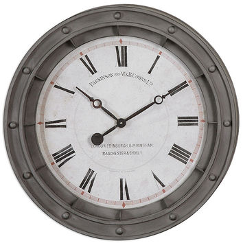 Uttermost Porthole Wall Clock - White Dial - Rust Gray Metal Frame