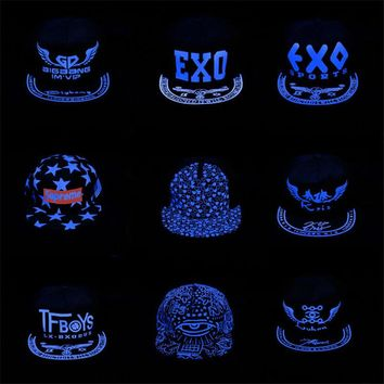 BDLJ Dark glowing Snapback cap hip hop hat flat brim hats women baseball cap men capwomen caps Blue luminous hat Free shipping