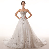 Princess beaded lace 2015 new luxury long train Wedding Dress Lace Princess Bride Wedding diamond dress