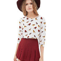 Bird Print Half Sleeve Top