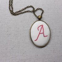 Monogram necklace Personalized embroidered initial jewelry Valentine gifts for her Custom name embroidery jewelry
