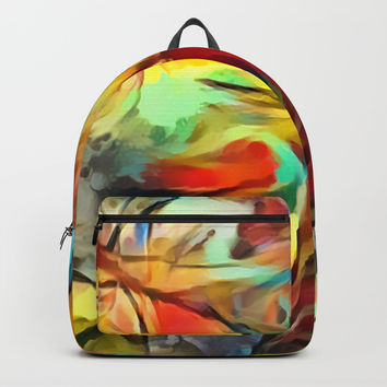 Red forest, colorful sky view, abstract warm artwork, red and yellow colors, nature themed pattern Backpacks by Casemiro Arts - Peter Reiss