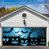 Garage Door Halloween Decorations Cover Decor Bats Pumpkin Night Sky Tree Bat 3d Billboard Outside Decoration for Garage Door Halloween Pumpkins