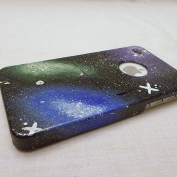 Galaxy cosmos cell phone case for iphone 4 and 4s, hand painted with kickstand. Fast shipping, made to order