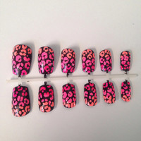 Ombré cheetah print coral to hot pink artificial and by GotNailz