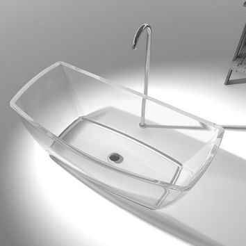 Resin Acrylic Colored Freestanding Rectangular Bathroom Tub