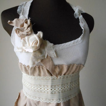 Boho Wedding Dress Beach Shabby Chic Cappucino Short Rustic Woodland Alternative Second Bridal Gown Mocha Creme Brulee Mori Urban Prairie
