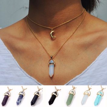 Vintage 2 Layer Color Natural Stone Pendants Choker Necklaces Gold Color Moon Necklace For Women Jewelry Collier Femme #229163