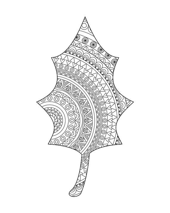 Leaf coloring page - Adult coloring book from hedehede | Home