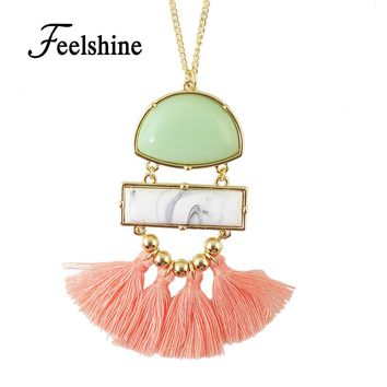 Boho Ethnic Jewelry Vivid Pendant White Stone Necklace Long Gold-Color Chain with Cute Tassel Pendant Necklace