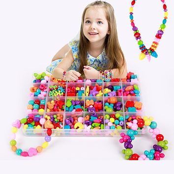 Children Amblyopia Candy Colors DIY Wear Beads Bracelet Kids Toys Geometric Shape Jewelry Making Assorted Bead Kit Accessories
