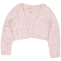 River Island Mini girls pink eyelash shrug