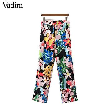 Vadim women vintage drawstring tie floral pants fashion split loose trousers ladies casual ankle length pants pantalones KZ984