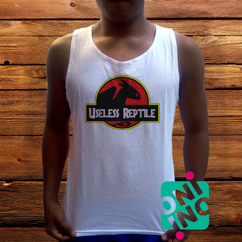 Useless Reptile Men's White Cotton Solid Tank Top